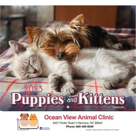 Puppies and Kittens Wall Calendar Printed with Your Logo