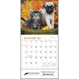 Puppies and Kittens Mini Calendar Imprinted with Your Logo