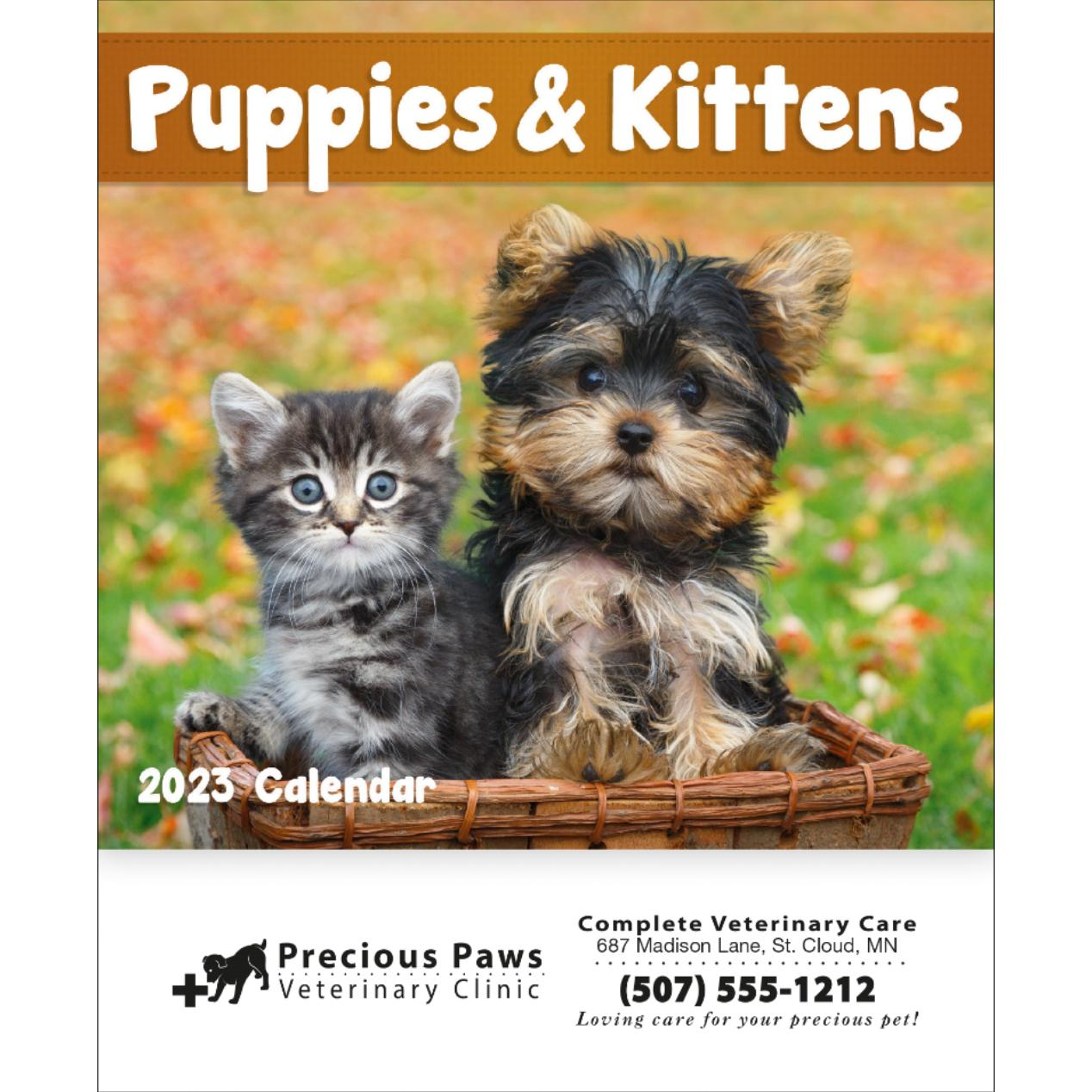 Promotional 2018 Puppies and Kittens Mini Calendars with Custom