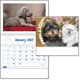 Puppies and Kittens Pocket Calendar with Your Slogan