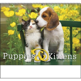 Printed Puppies and Kittens Spiral Calendar