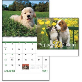 Puppies and Kittens Spiral Calendar with Your Slogan