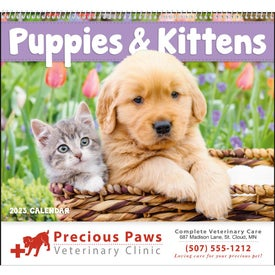 Customized Puppies and Kittens Spiral Calendar