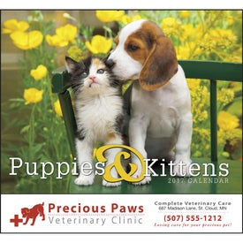 Imprinted Puppies and Kittens Stapled Calendar