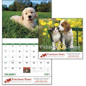 Puppies and Kittens Stapled Calendar for Your Company