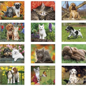 Puppies and Kittens Stapled Calendar for Marketing