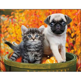 Monogrammed Puppies and Kittens Stapled Calendar