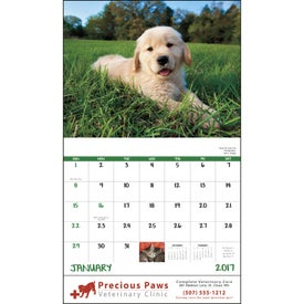 Puppies and Kittens Stapled Calendar for Advertising