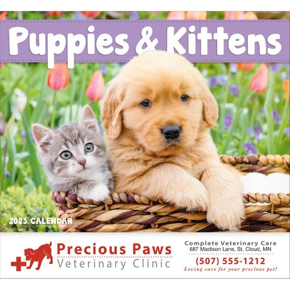 Puppies and Kittens Stapled Calendar