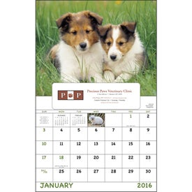 Puppies and Kittens Window Calendar Imprinted with Your Logo