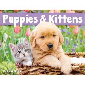Puppies and Kittens Window Calendar for Advertising