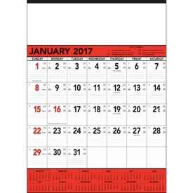 Personalized Red and Black Contractor's Memo Calendar