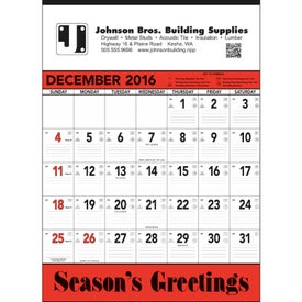 Red and Black Contractor's Memo Calendar for Customization