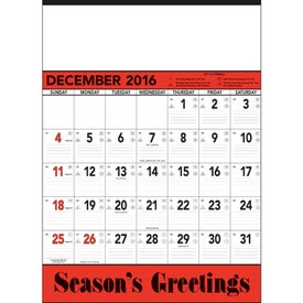 Red and Black Contractor's Memo Calendar Branded with Your Logo