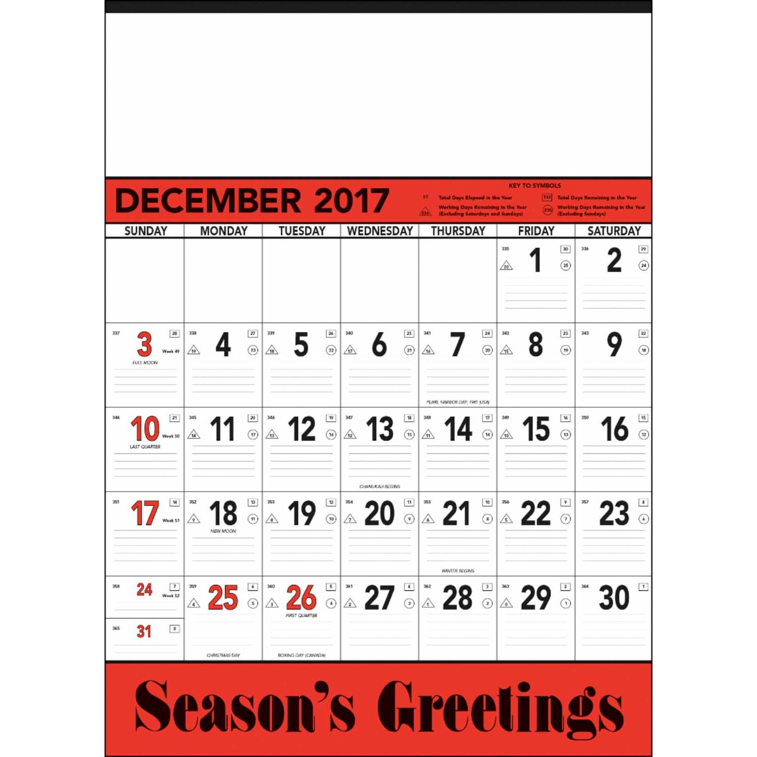 Calendar Red : Red and black contractor s memo calendar sheet