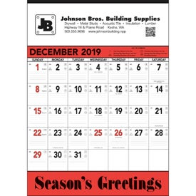 Red and Black Contractor's Memo Calendar (13-Sheet, 2020)