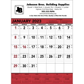 Red and Black Contractor's Memo Calendar (13-Sheet, 2017)