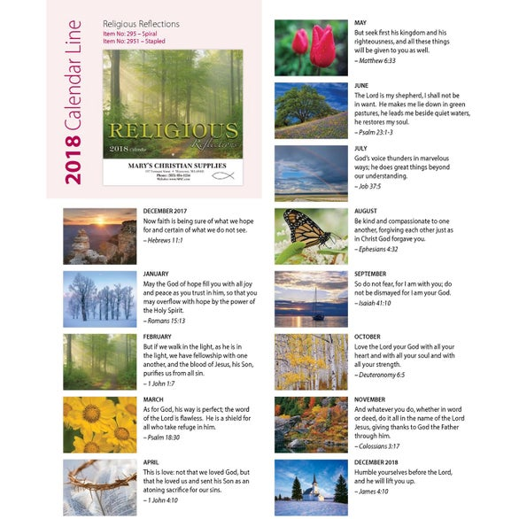 Zoom / Feature Photo Religious Reflections Wall Calendar (Spiral)