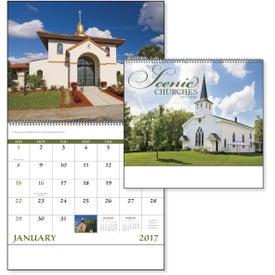 Monogrammed Scenic Churches Spiral Calendar