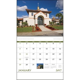 Scenic Churches Spiral Calendar with Your Slogan