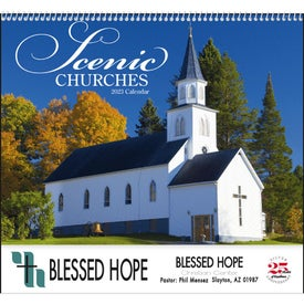 Scenic Churches Spiral Calendar Branded with Your Logo