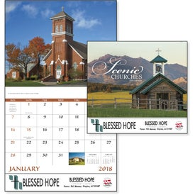Scenic Churches Stapled Calendar for Advertising