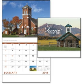 Advertising Scenic Churches Stapled Calendar