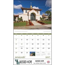 Scenic Churches Stapled Calendar for Your Organization