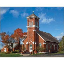 Branded Scenic Churches Stapled Calendar