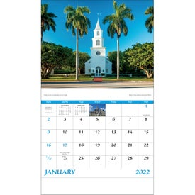 Branded Scenic Churches Stapled Calendar