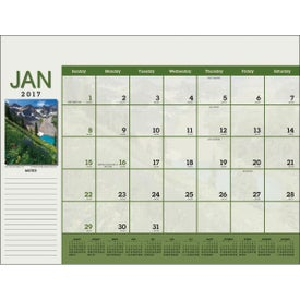 Scenic Desk Pad Calendar with Your Slogan