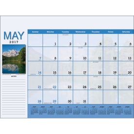 Monogrammed Scenic Desk Pad Calendar