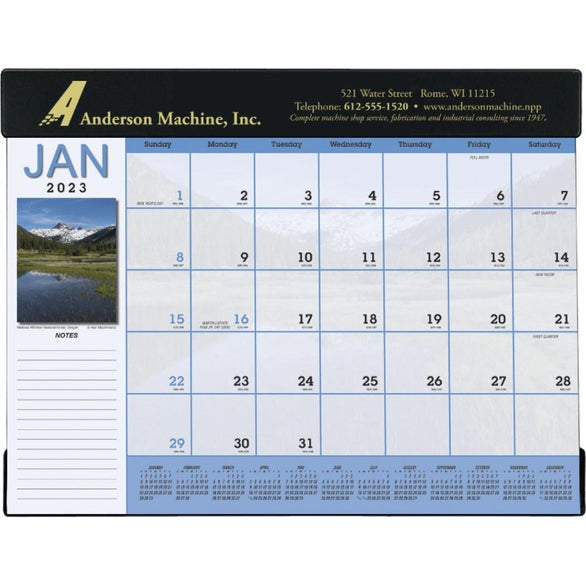 Promotional 2018 Scenic Desk Pad Calendars with Custom Logo for