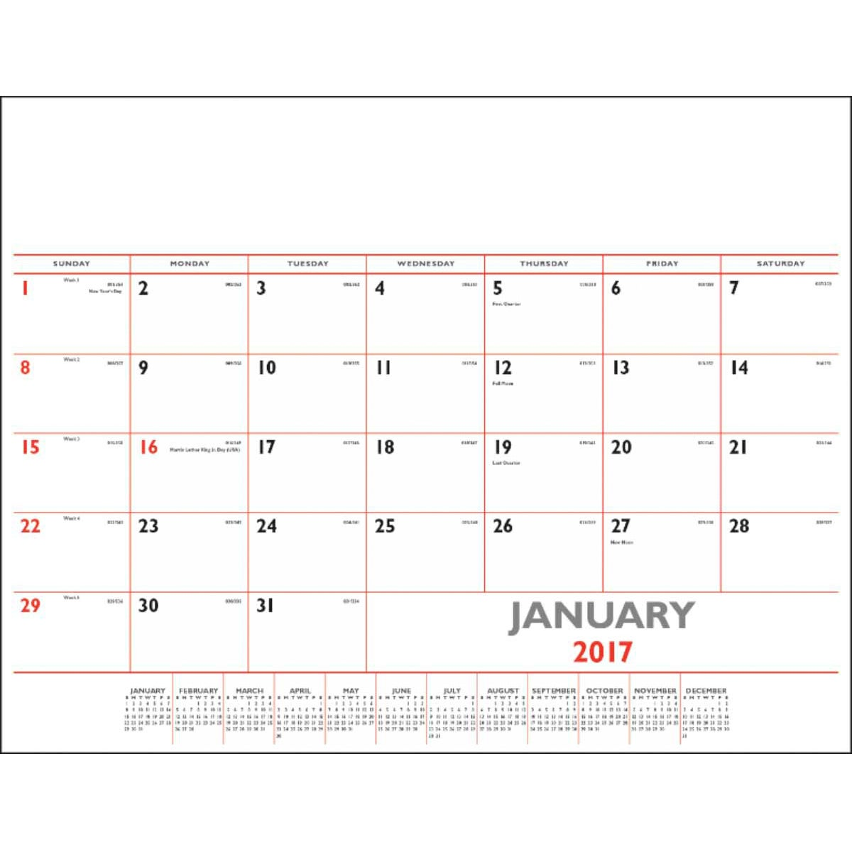 Basic Desk Pad Calendar Red and Black 2017