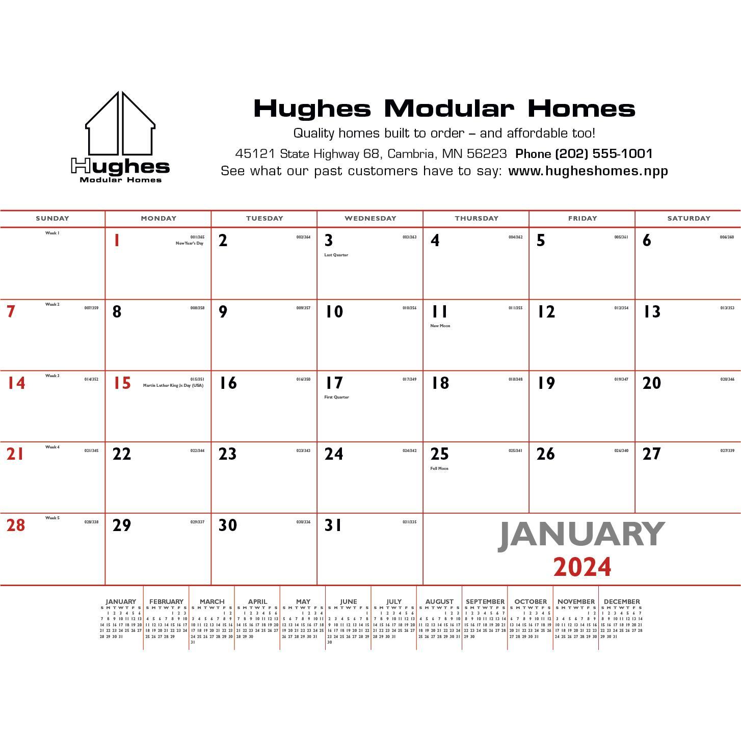 Basic Desk Pad Calendar (Red and Black, 2020)