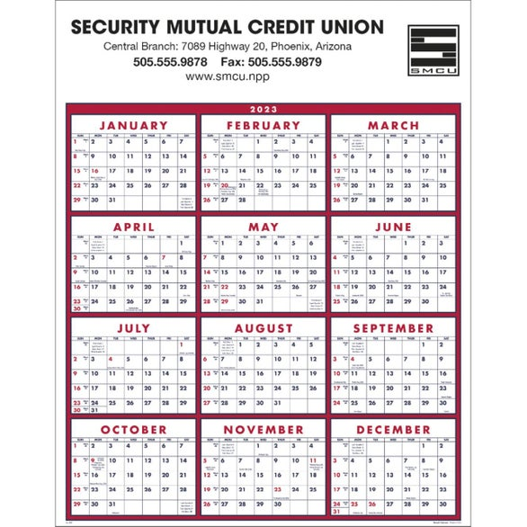 Promotional 2020 Burgundy White Big Numbers Span A Year Calendars