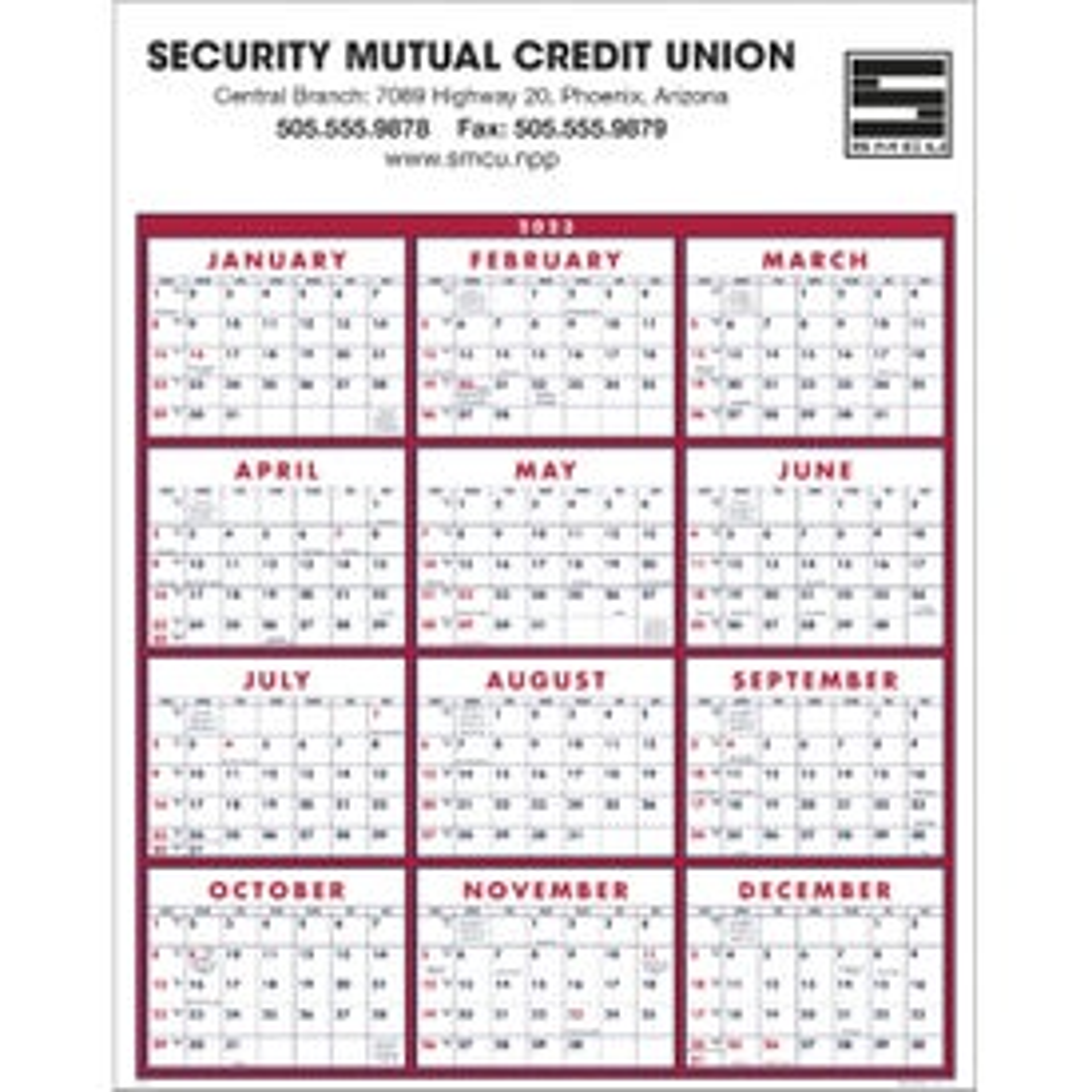 Span-A-Year Calendar (2019)