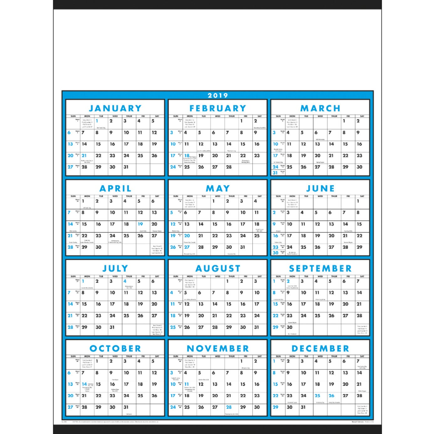 promotional laminated with marker 2019 span a year calendars with