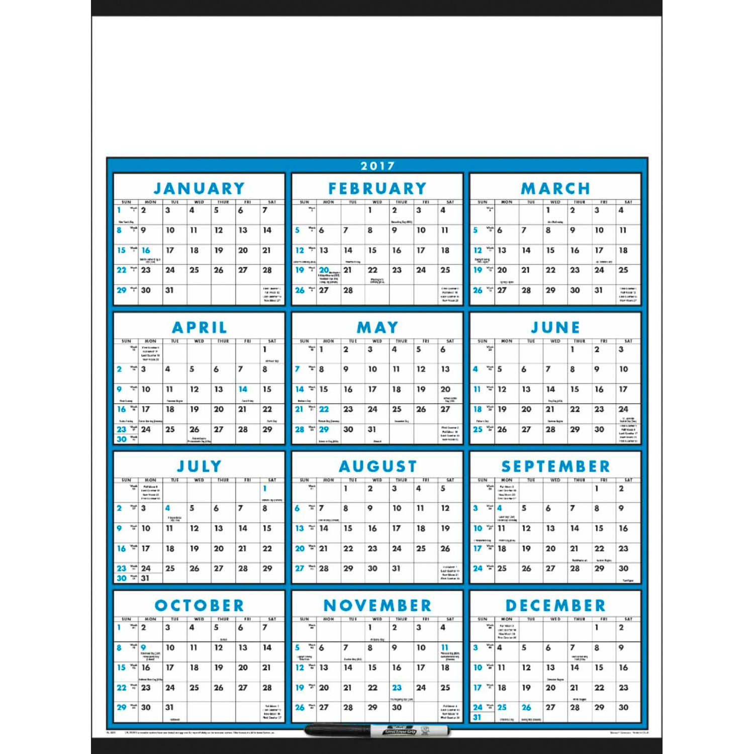 Span A Year Calendar Laminated With Marker 2017