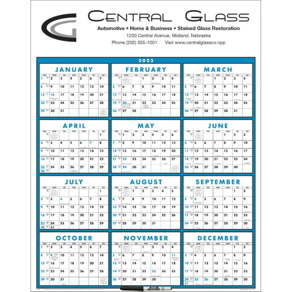 span a year calendar laminated with marker 2019