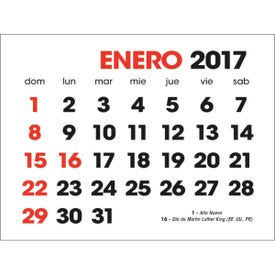 Promotional Spanish 2-Color Stick Up Calendar