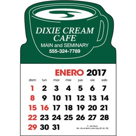 Spanish 2-Color Stick Up Calendar with Your Logo
