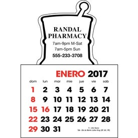 Spanish 2-Color Stick Up Calendar Imprinted with Your Logo