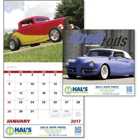 Street Rods Stapled Calendar Printed with Your Logo