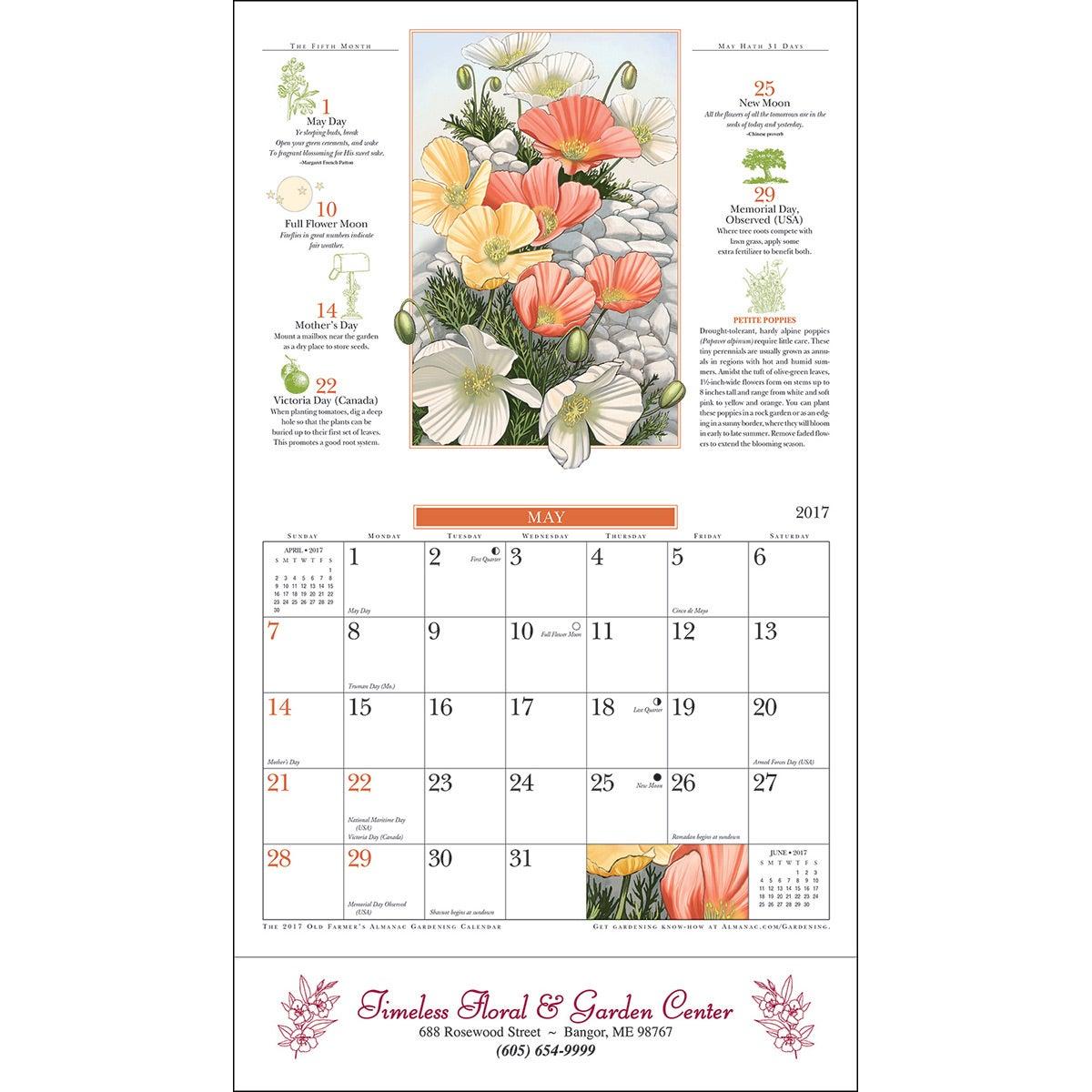The old farmer almanac gardening wall calendar stapled - Farmers almanac gardening calendar ...
