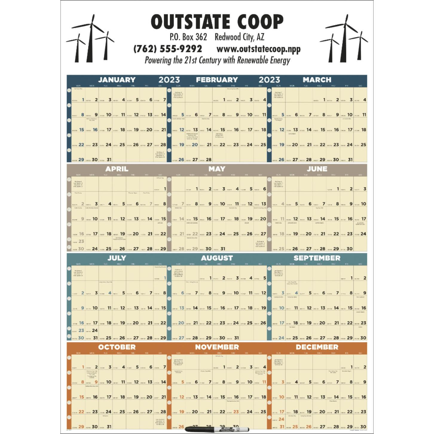 promotional laminated 2019 time management span a year calendars