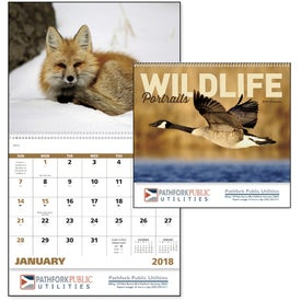 Imprinted Wildlife Portraits Spiral Calendar
