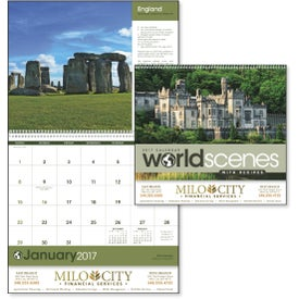 World Scenes with Recipes Wall Calendar Printed with Your Logo