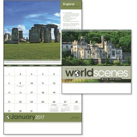 Promotional World Scenes with Recipes Wall Calendar