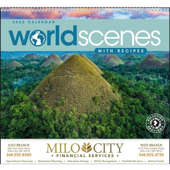 World Scenes with Recipes Wall Calendar